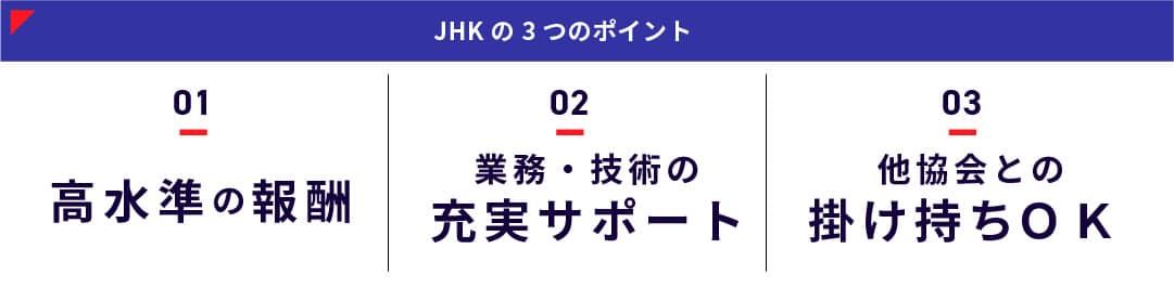 JHKの3つのポイント:1高水準の報酬、2業務・技術の充実サポート、3他協会との掛け持ちOK